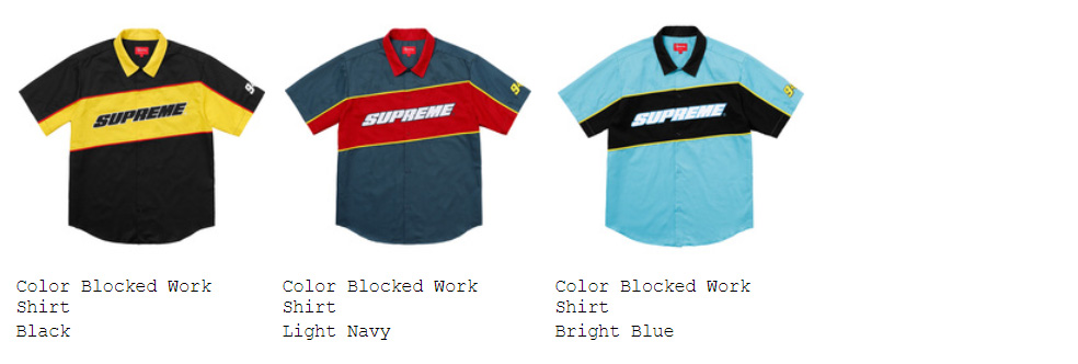 supreme 18ss week3 シャツ配置