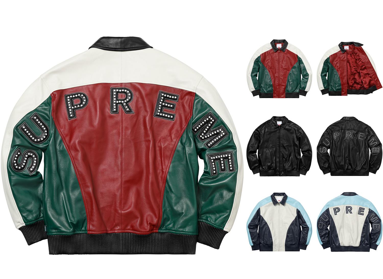 Studded Arc Logo Leather Jacket