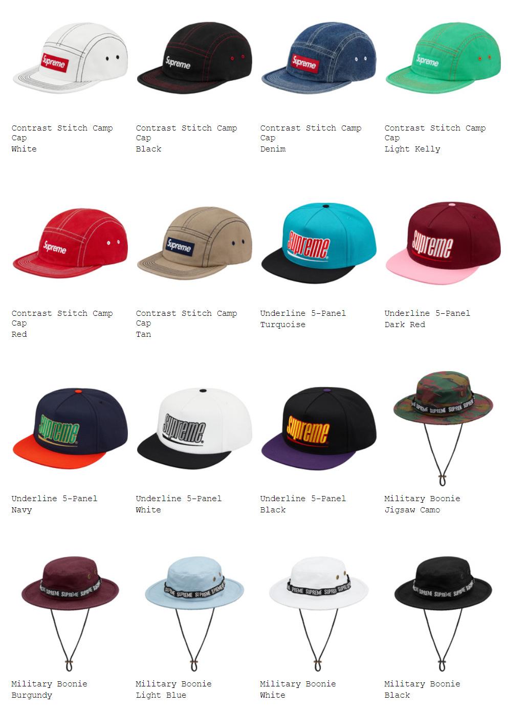 supremeオンライン配置 2018ss week5 帽子