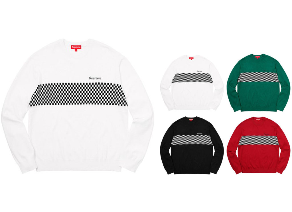 Checkered Panel Crewneck Sweater