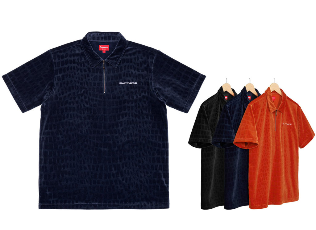 Croc Velour Zip Polo