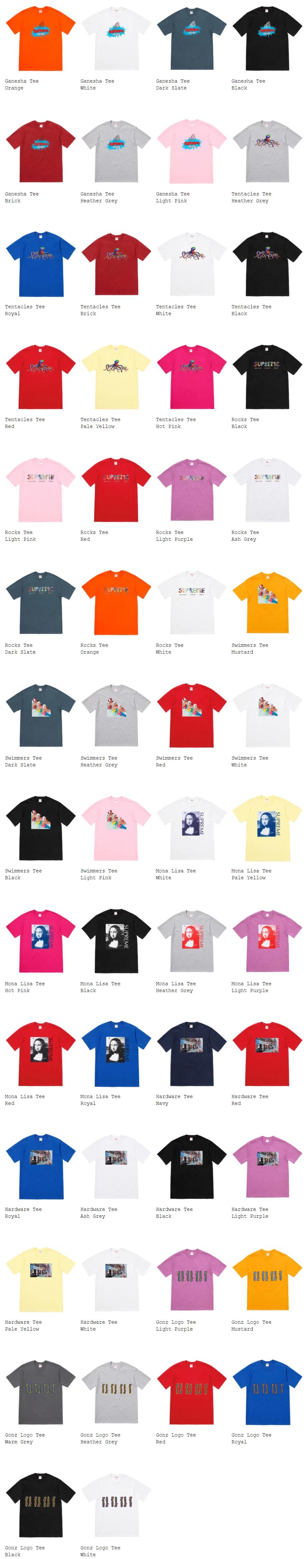 supreme シュプリーム 18ss week19 オンライン配置 Tシャツ