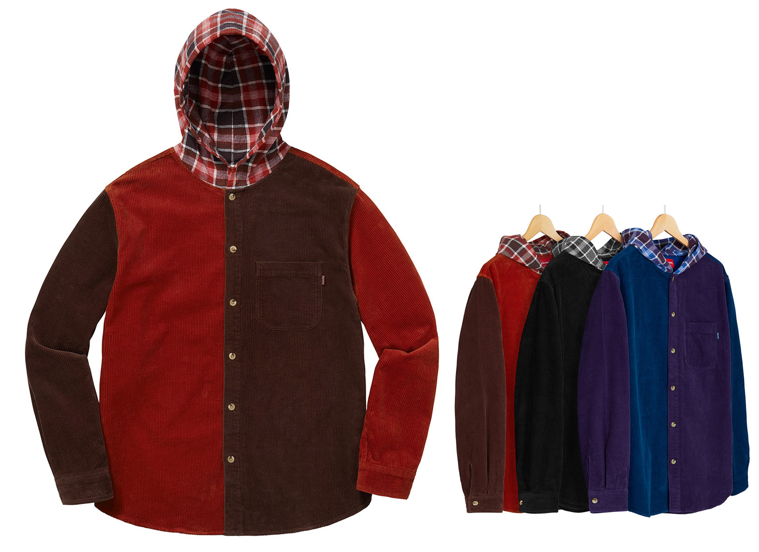 Hooded Color Blocked Corduroy Shirt