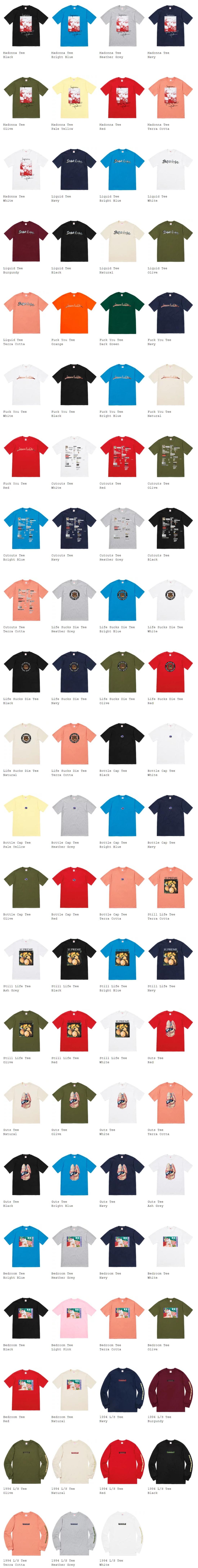supreme シュプリーム 18fw week1(立ち上げ) オンライン配置 Tシャツ