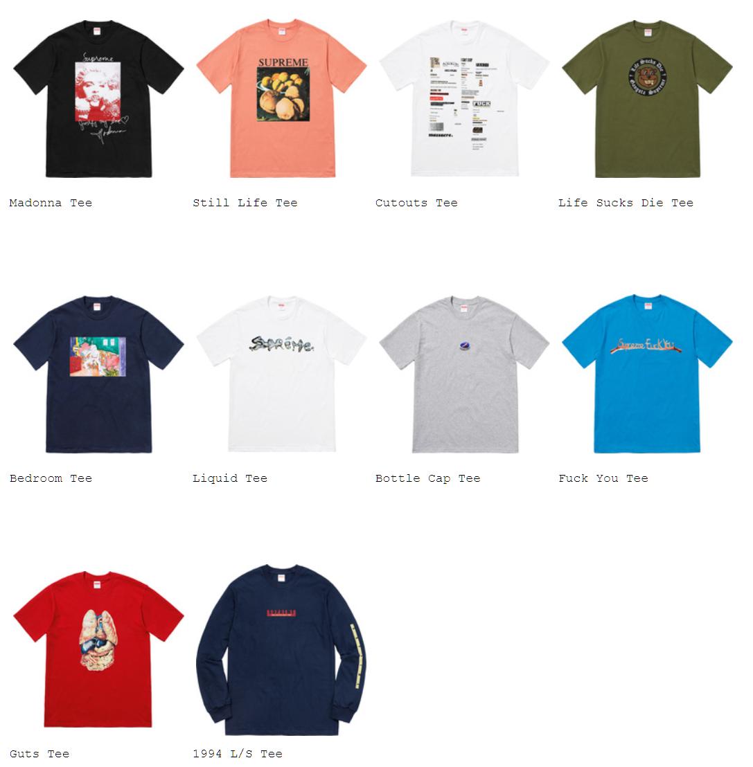 Supreme 2018FW 2018AW 全アイテム画像 Tシャツ