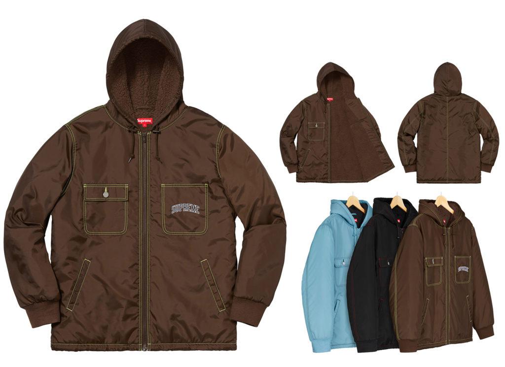 Sherpa Lined Nylon Zip Up Jacket
