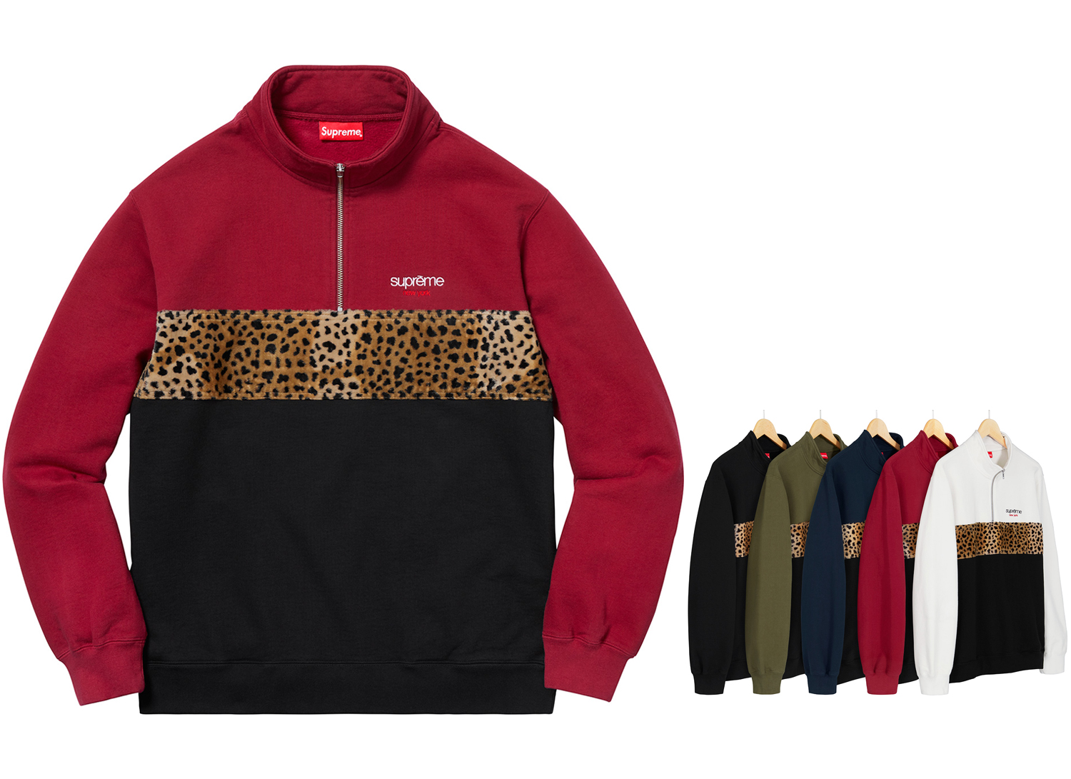 Leopard Panel Half Zip Sweatshirt