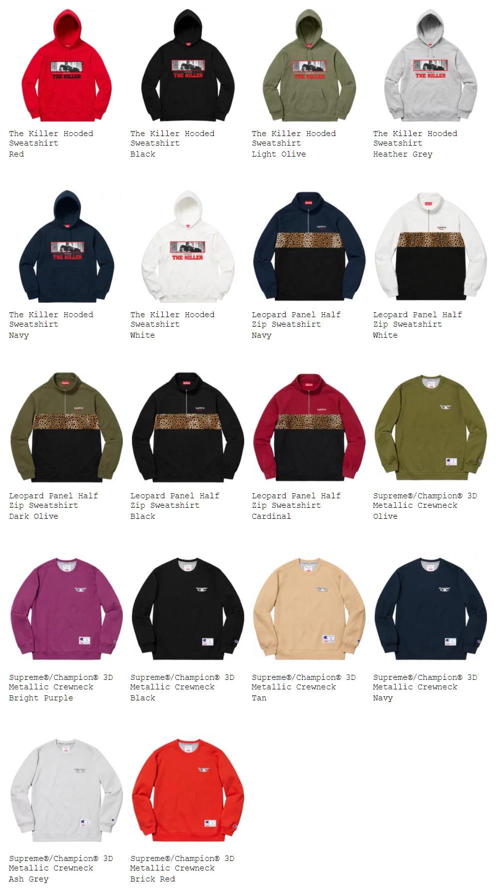 Supreme シュプリーム week9 オンライン配置 18fw 18aw スウェットシャツ