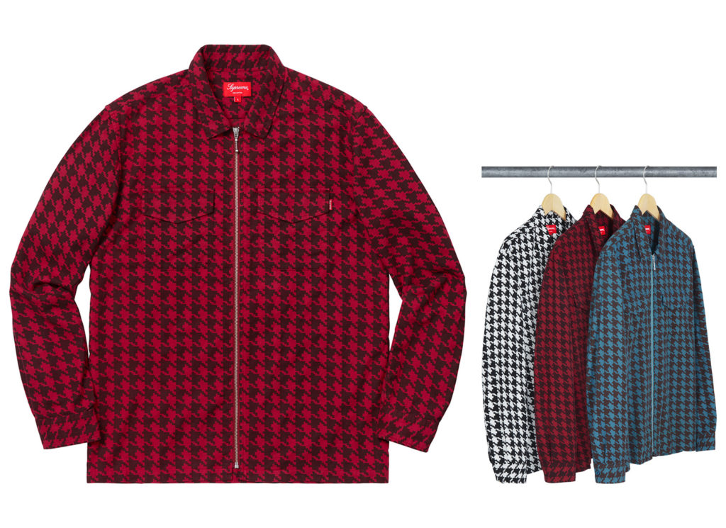 Houndstooth Flannel Zip Up Shirt
