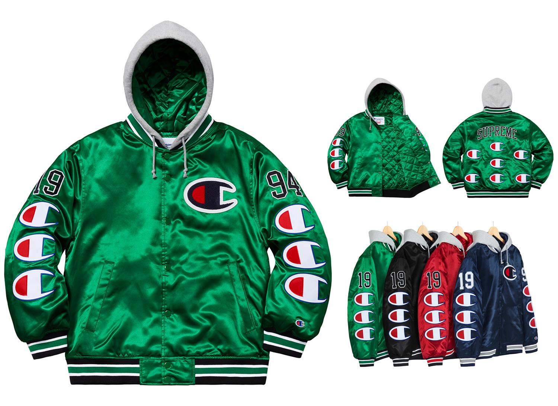 Champion® Hooded Satin Varsity Jacket