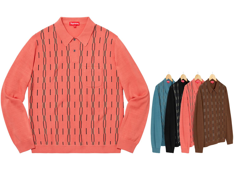 Vertical Stripe Knit L/S Polo