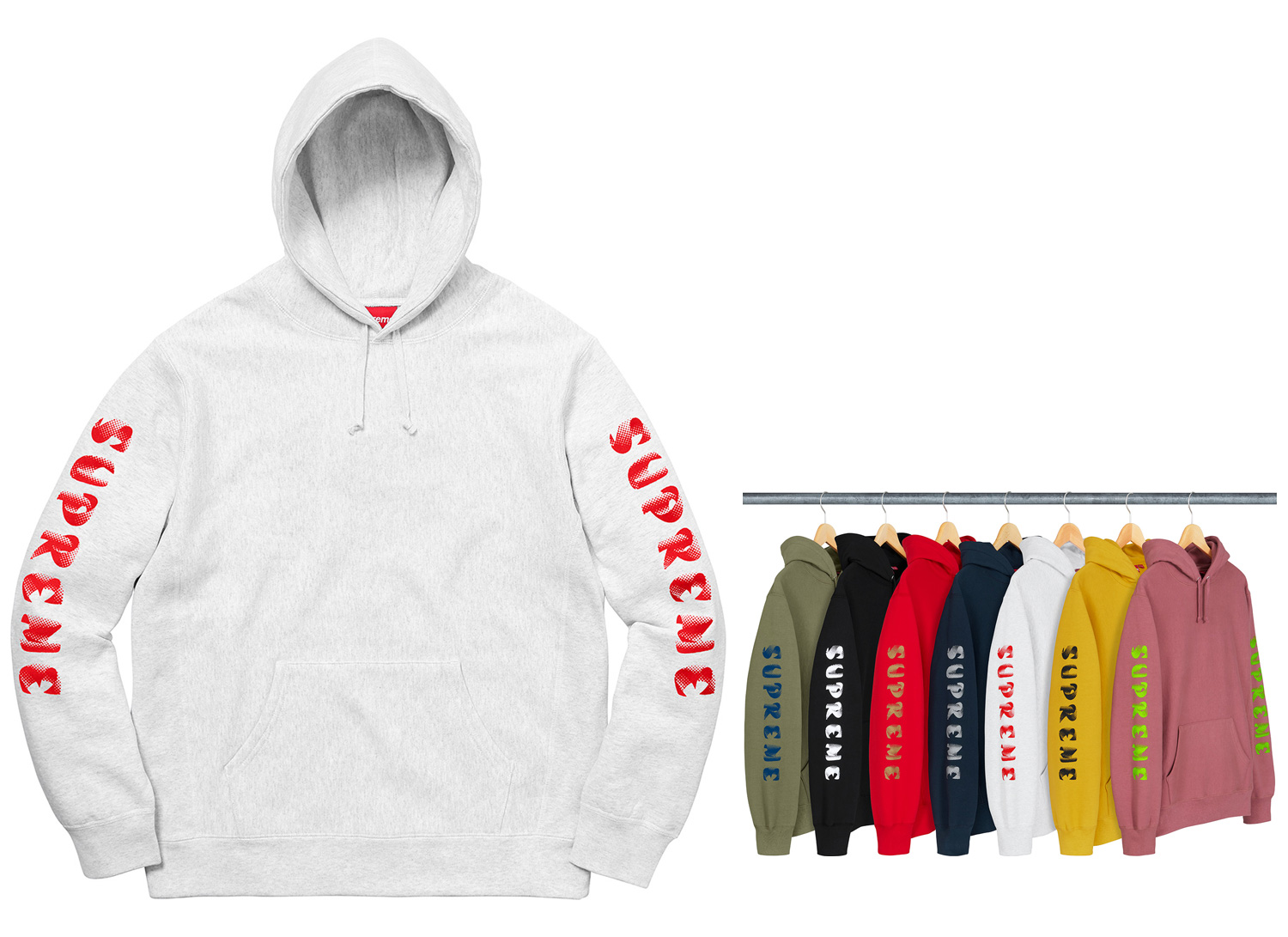 Gradient Sleeve Hooded Sweatshirt