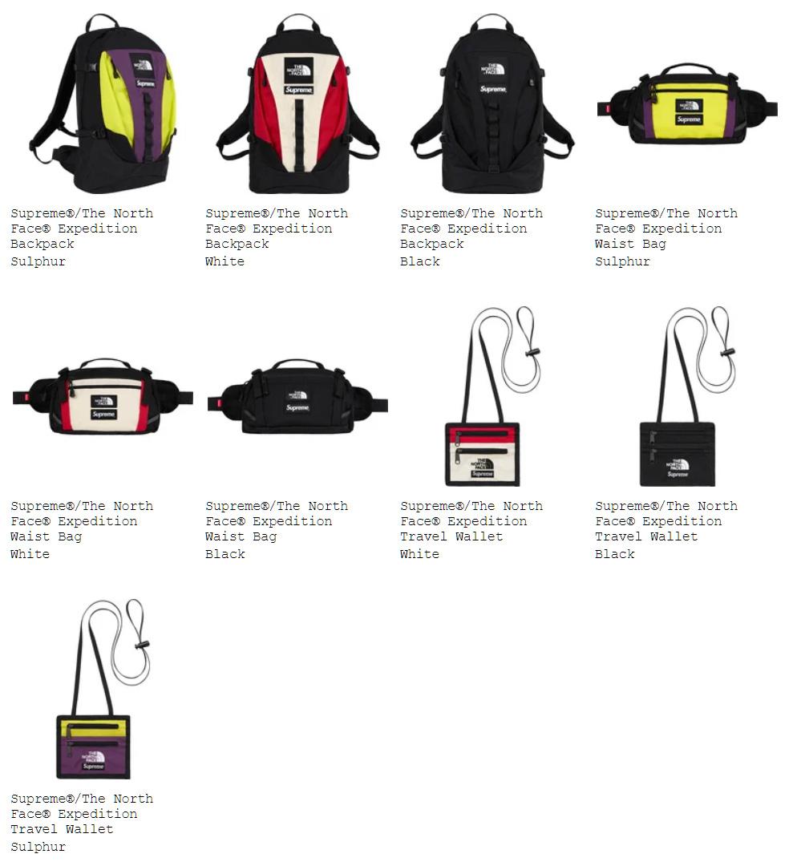 Supreme シュプリーム 18fw 18aw week15 オンライン配置 The North Face ノースコラボ バッグ