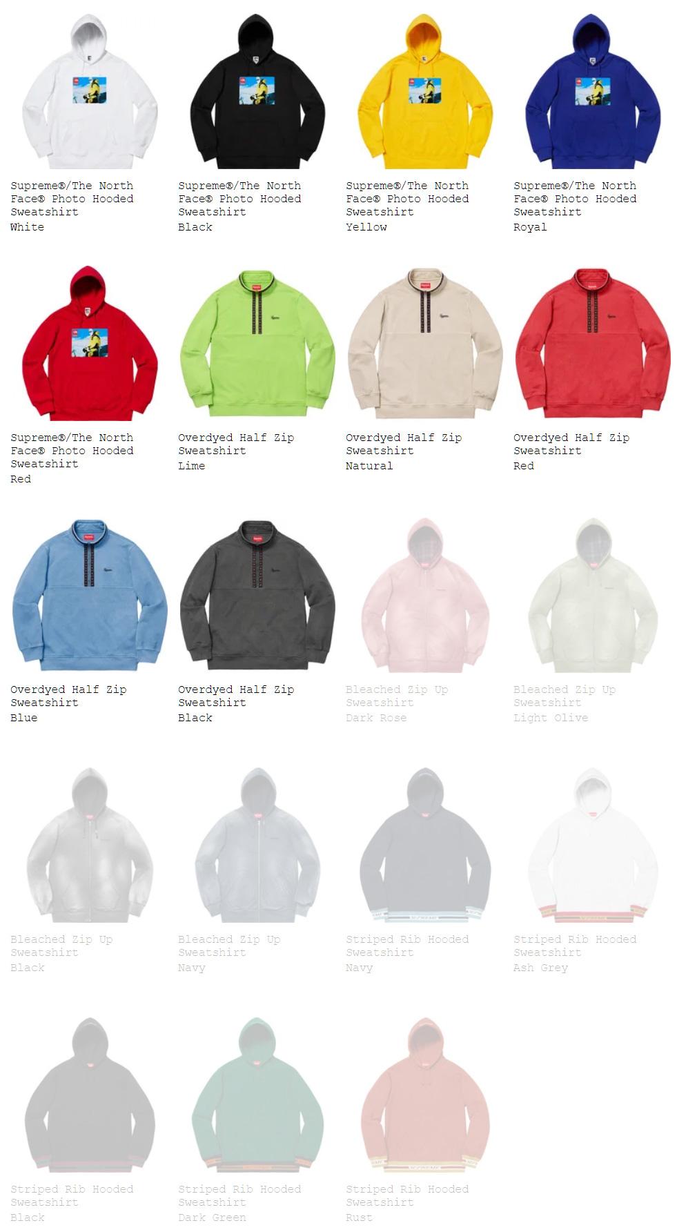 Supreme シュプリーム 18fw 18aw week15 オンライン配置 The North Face ノースコラボ スウェットシャツ