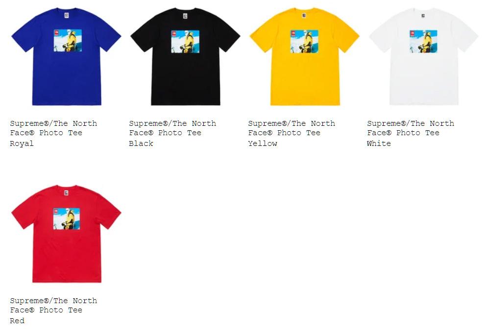 Supreme シュプリーム 18fw 18aw week15 オンライン配置 The North Face ノースコラボ Tシャツ
