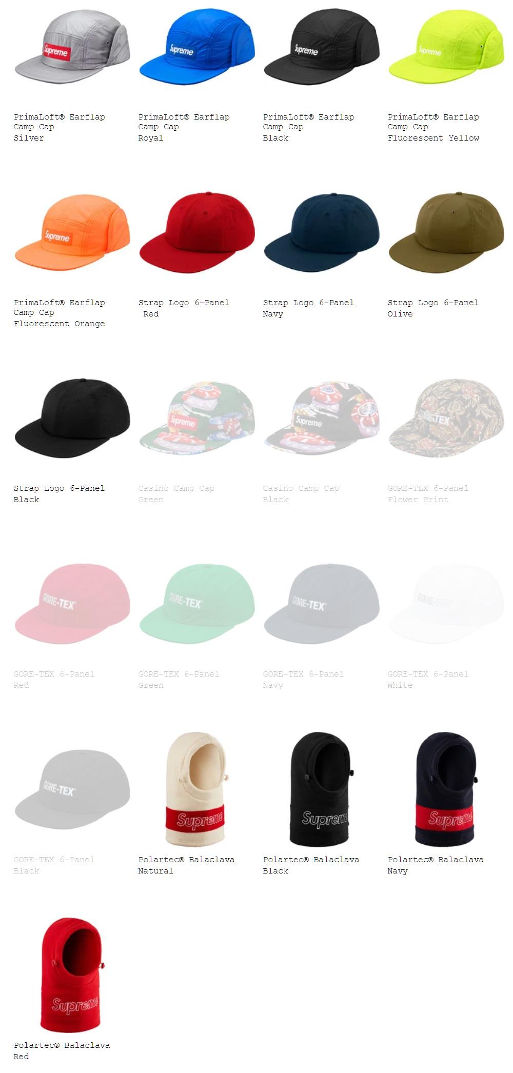 Supreme シュプリーム 18fw 18aw week16 オンライン配置 帽子