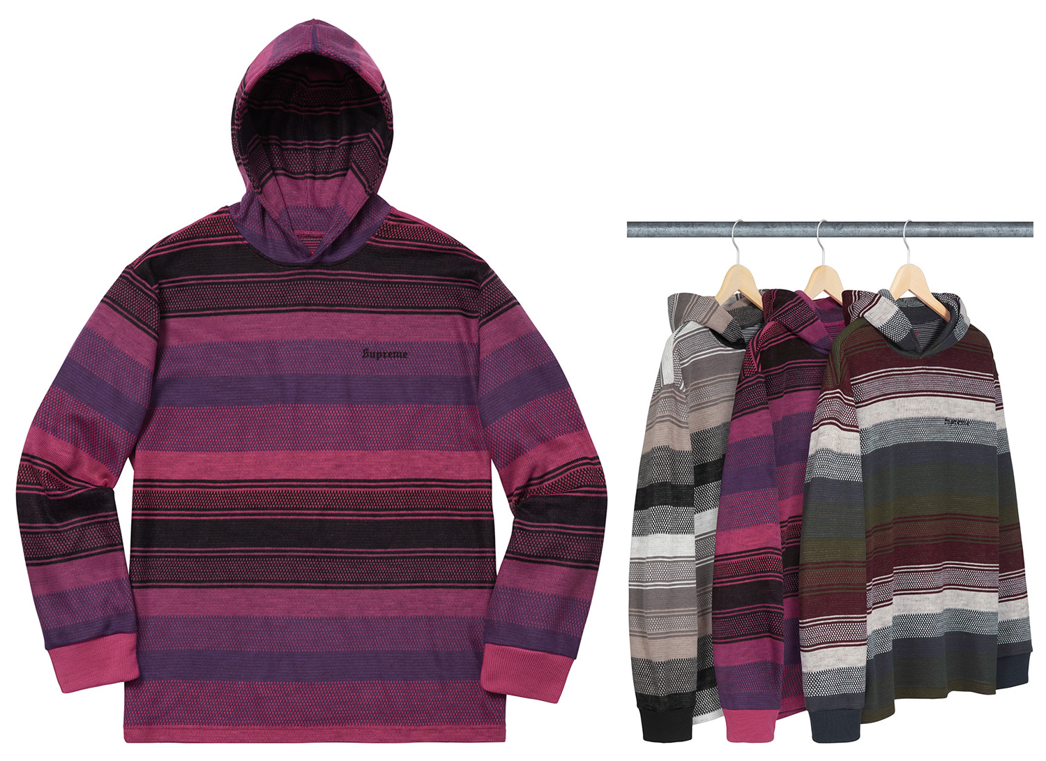 Knit Stripe Hooded L/S Top
