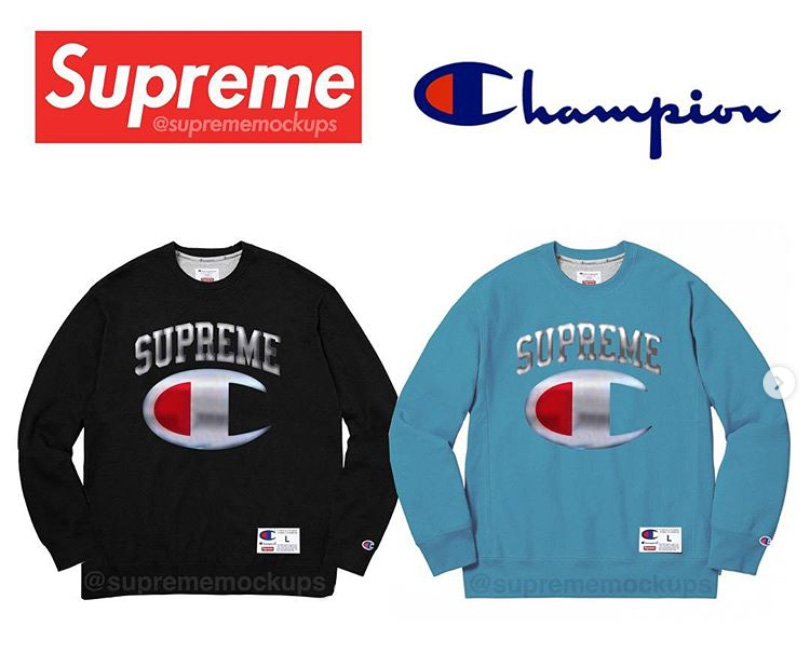 "supreme シュプリーム リーク 2019ss 19ss Supreme x Champion The ""chrome"" crewneck"