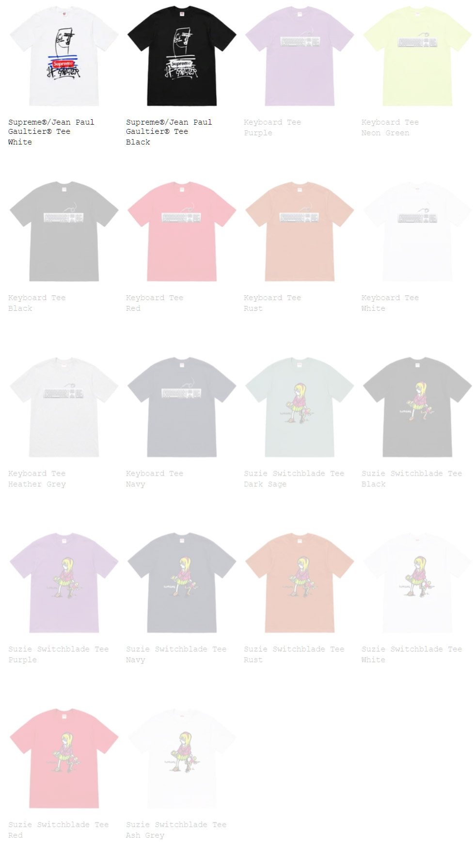 Supreme シュプリーム ゴルチエコラボ 2019ss 19ss week7 オンライン配置 Tシャツ