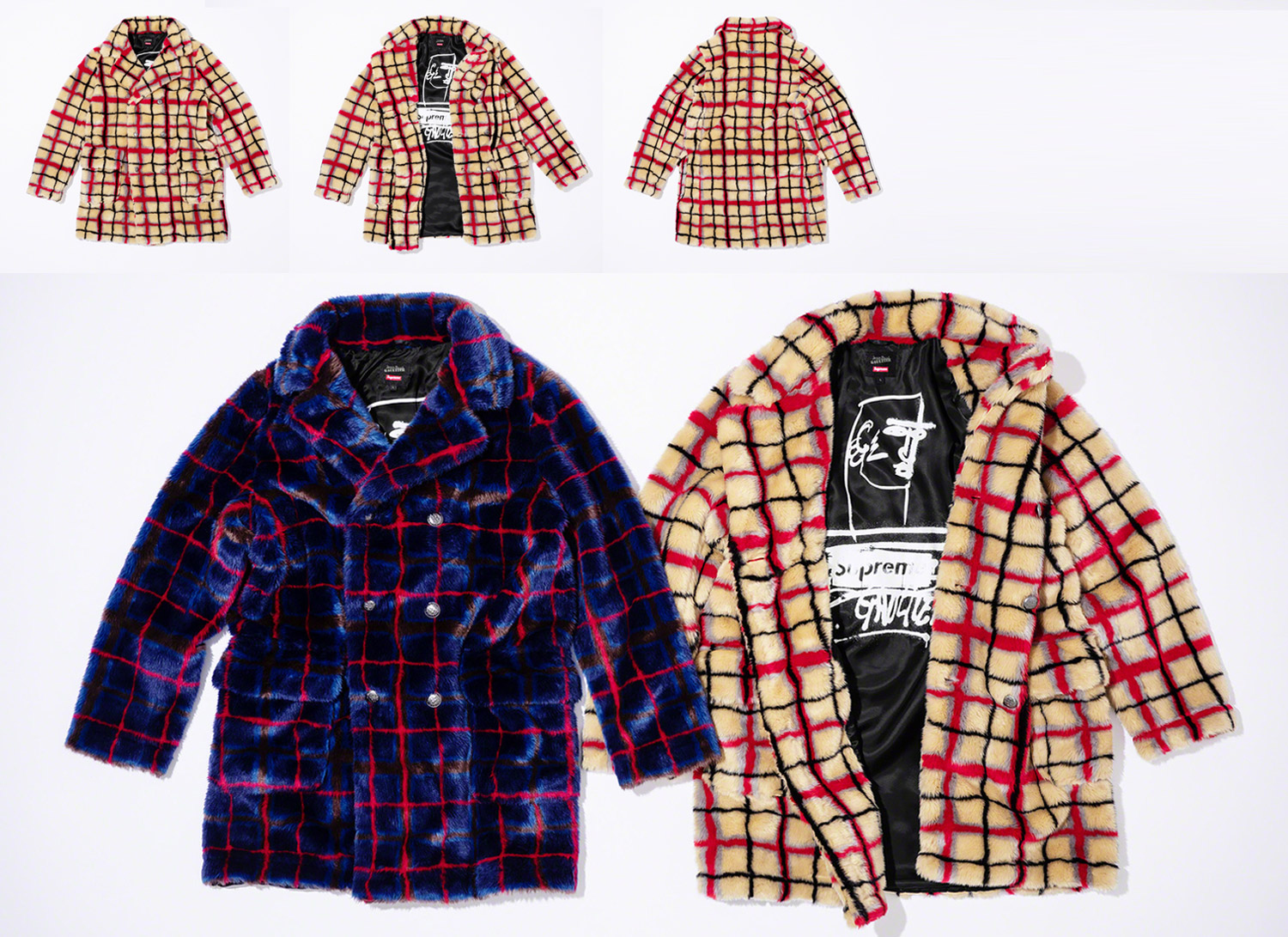 Double Breasted Plaid Faux Fur Coat
