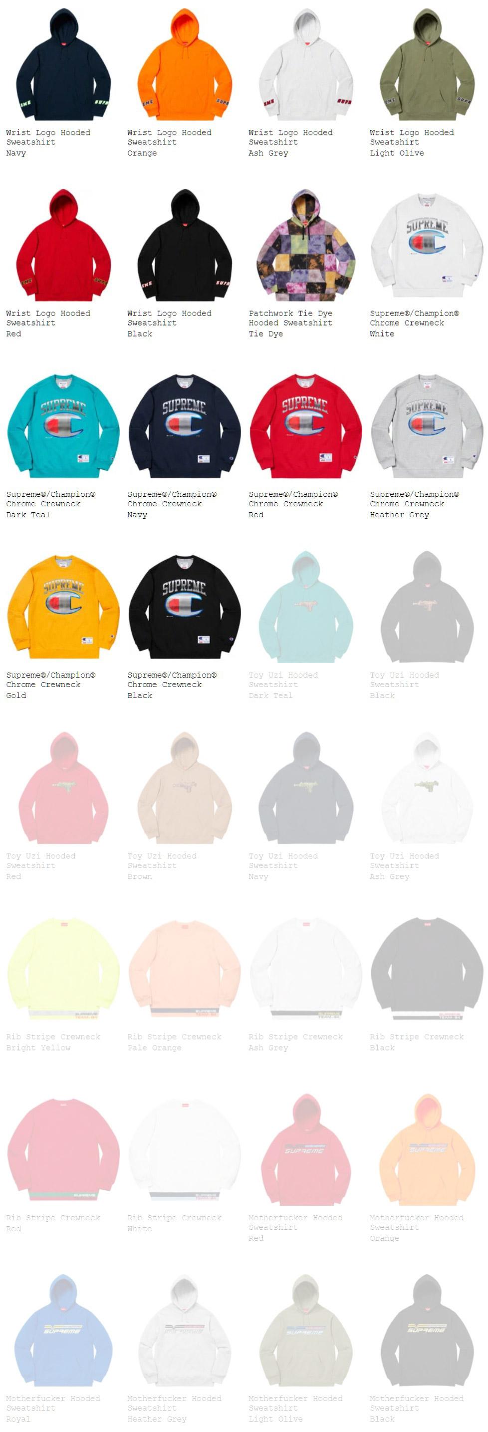Supreme シュプリーム 2019ss 19ss week14 オンライン配置 スウェットシャツ