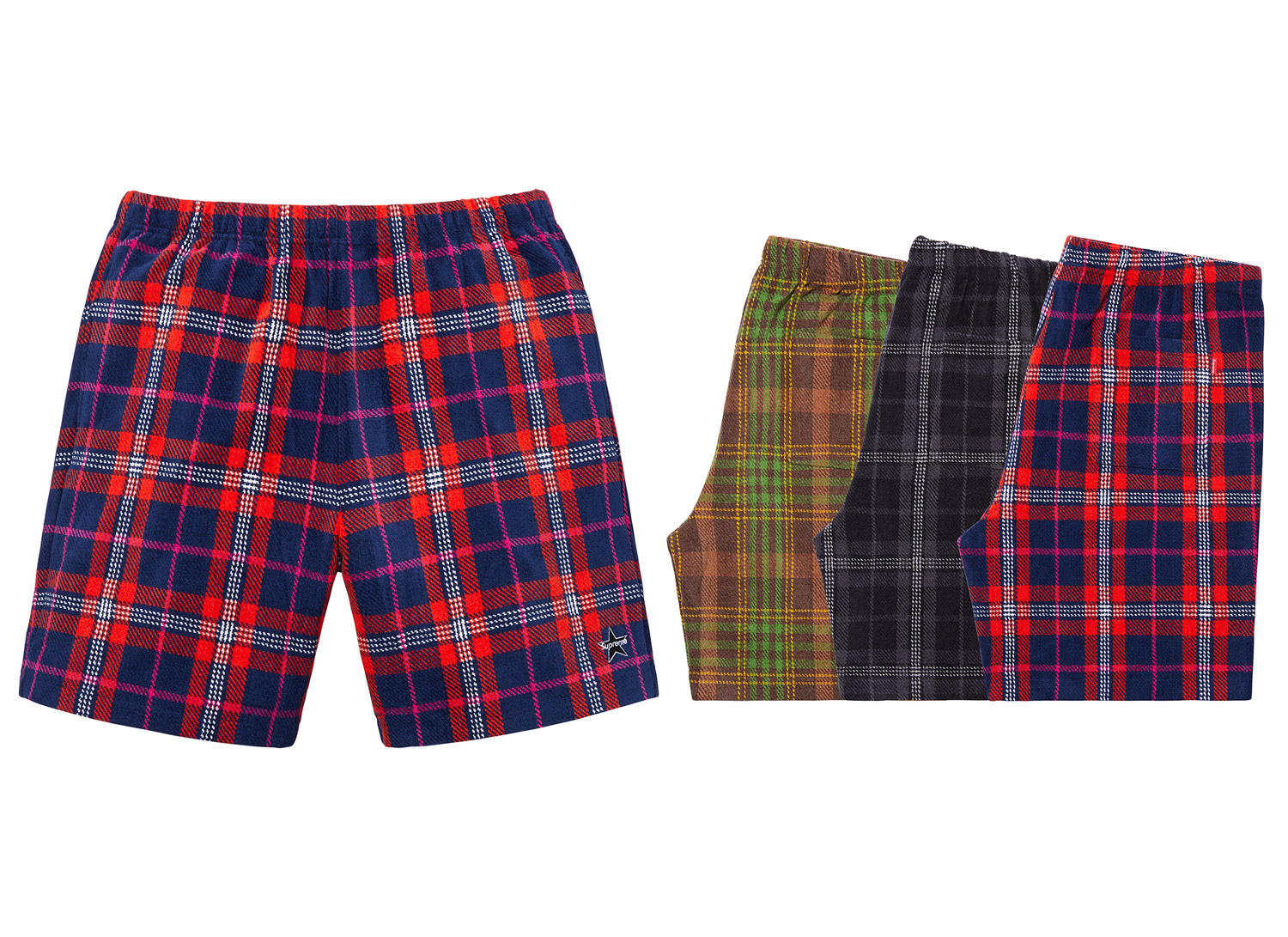 Plaid Velour Short